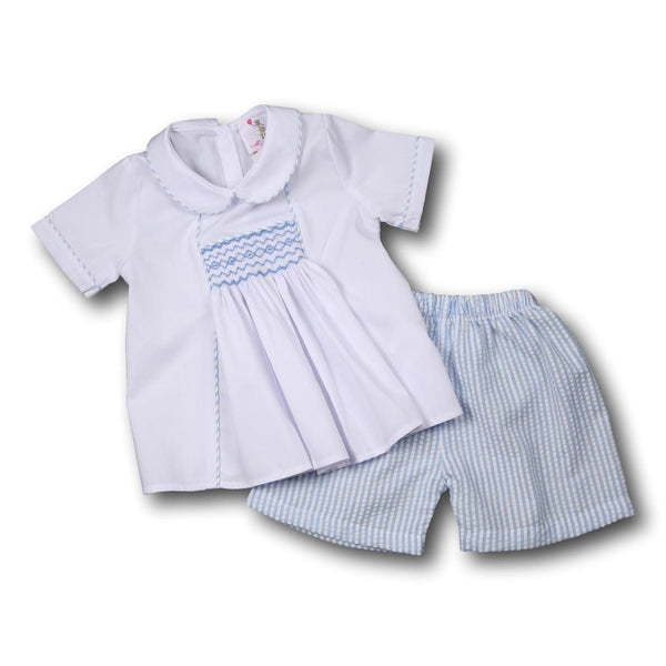 Blue Seersucker Smocked Geometric Short Set
