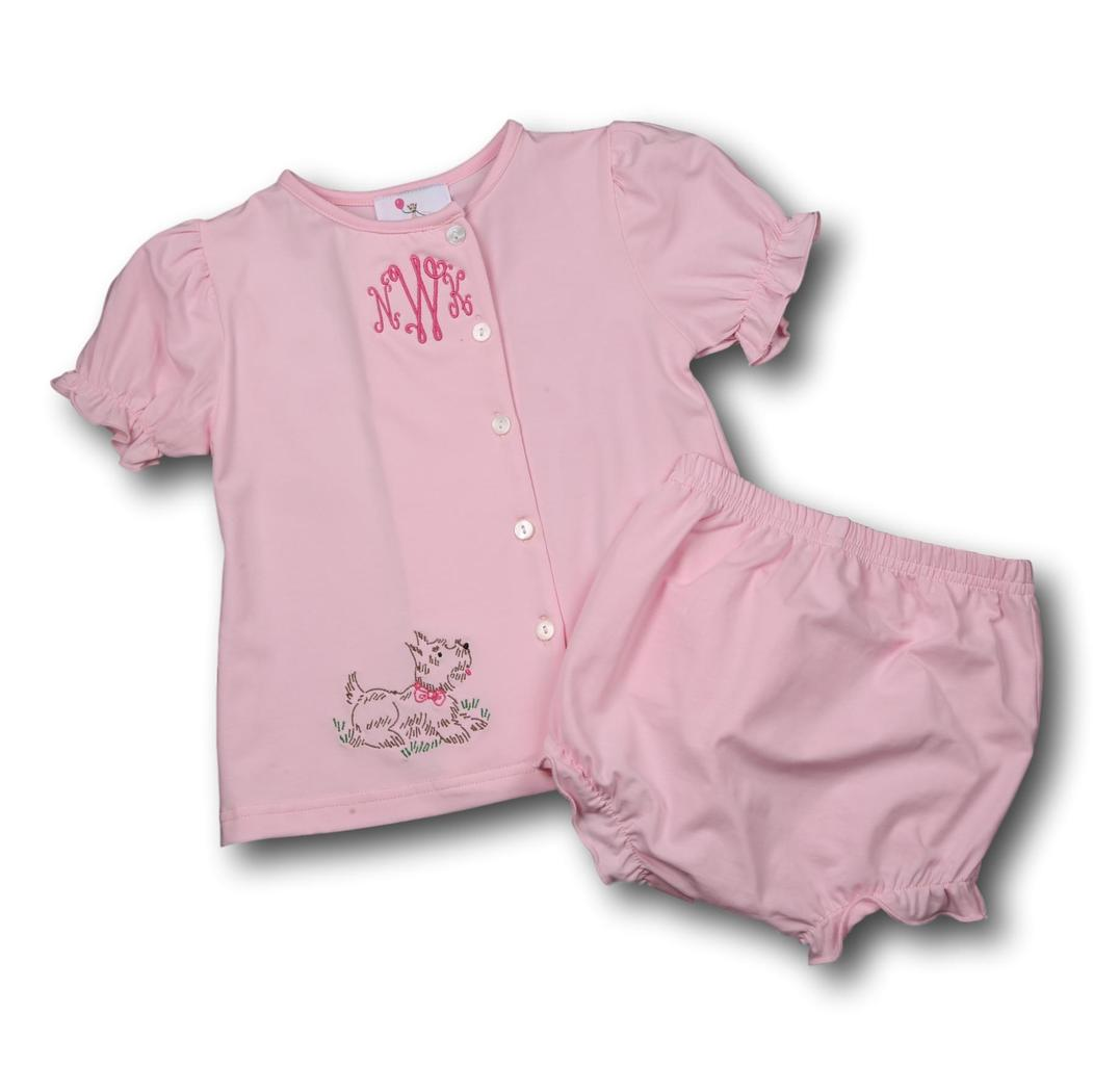 Pink Knit Puppy Diaper Set