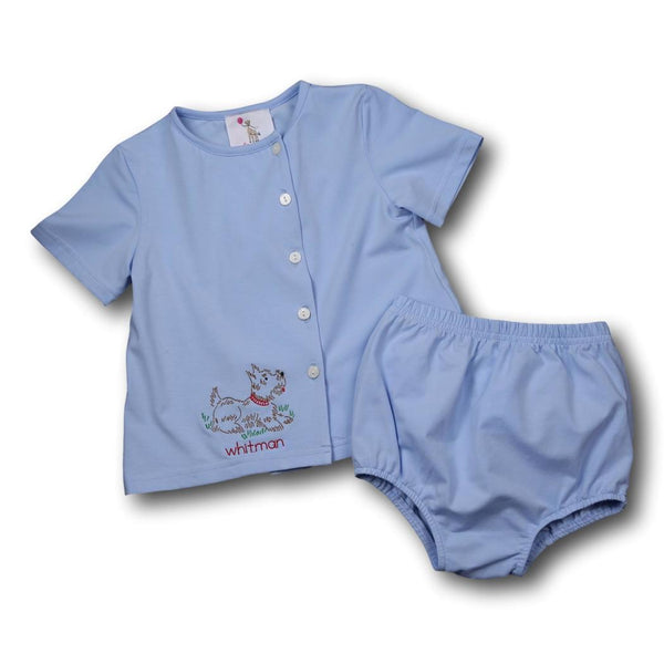 Blue Knit Puppy Diaper Set