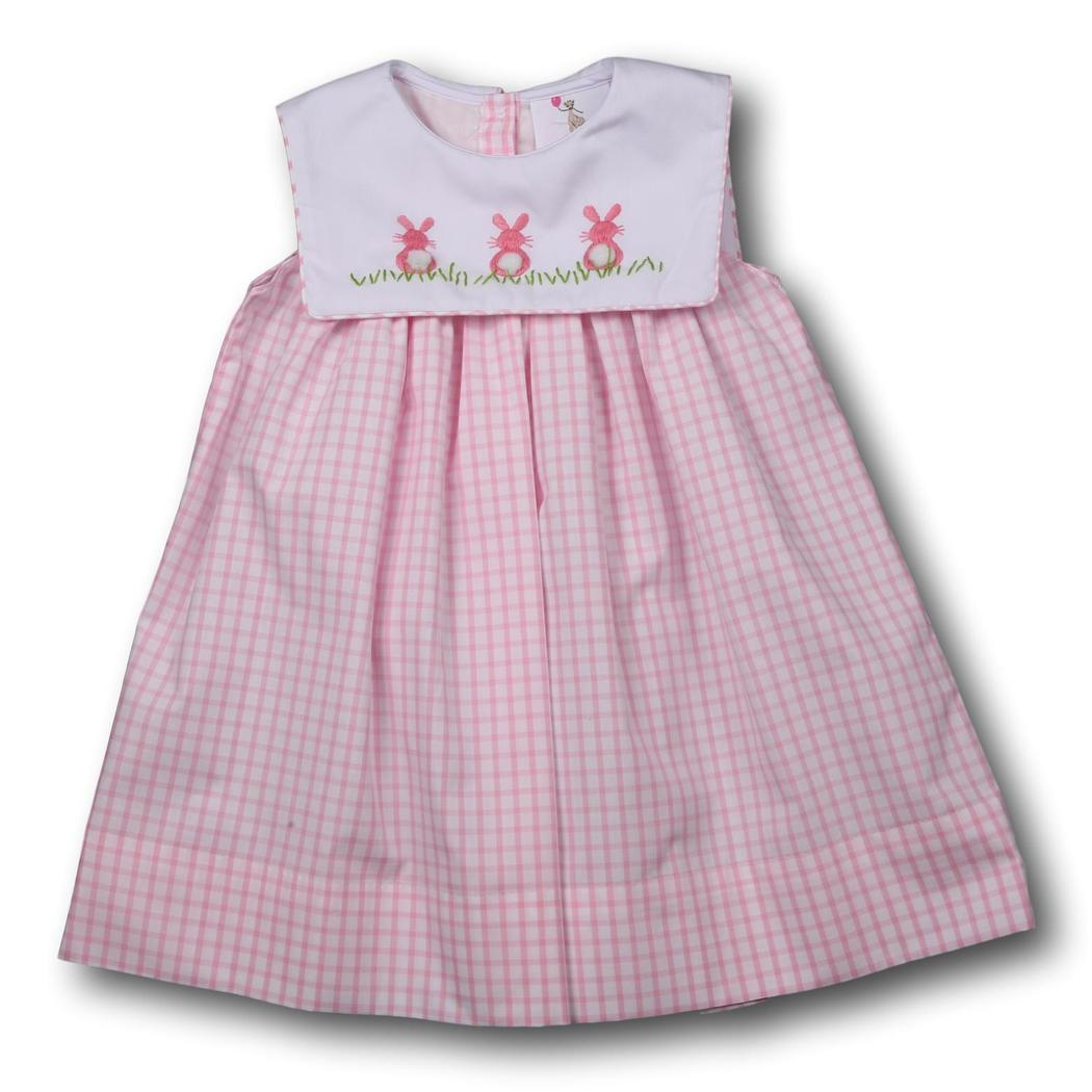 Pink Windowpane Embroidered Bunny Dress