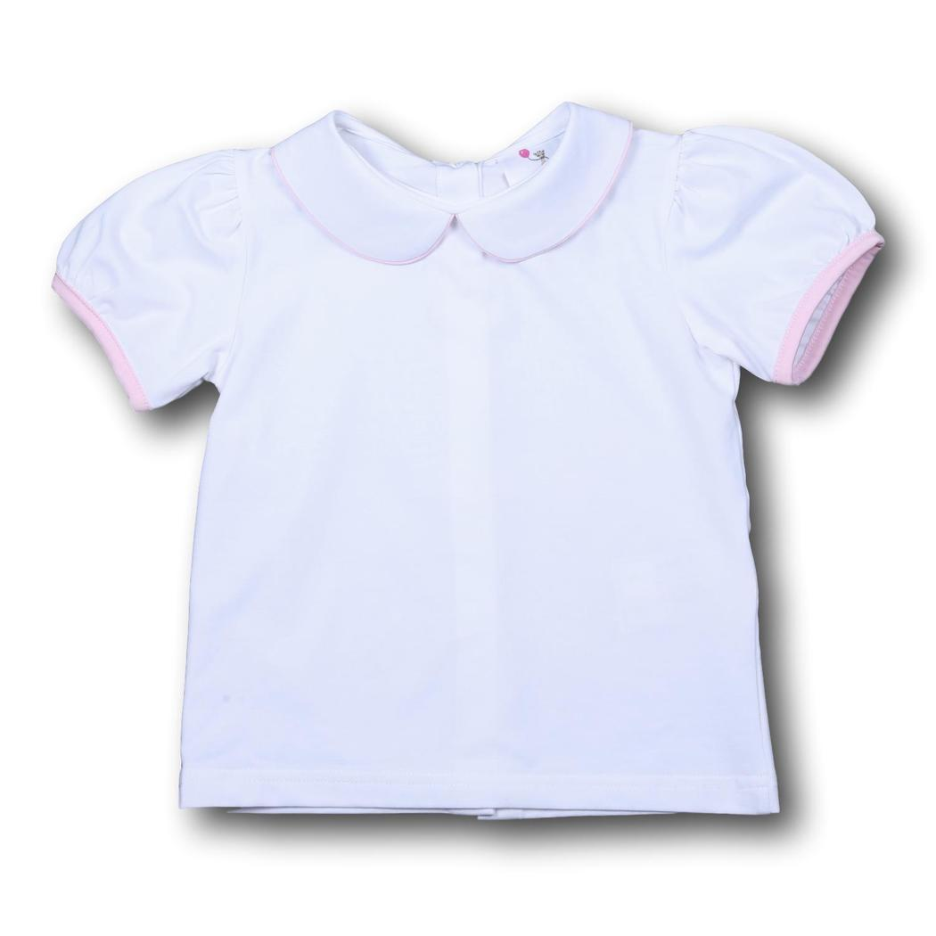 Girls White Knit Peter Pan Shirt with Pink Trim