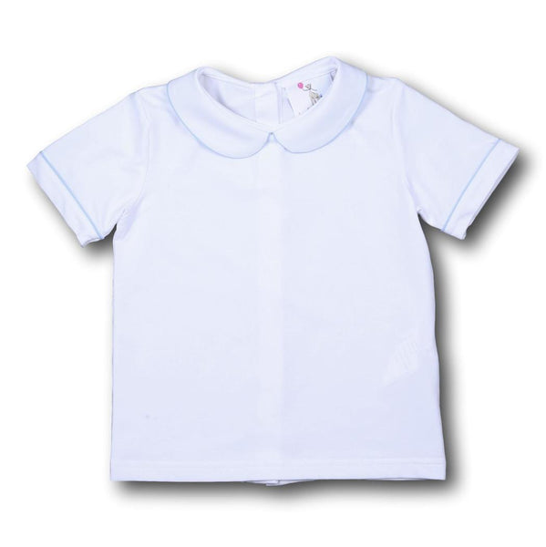 Boys White Knit Peter Pan Shirt with Blue Trim