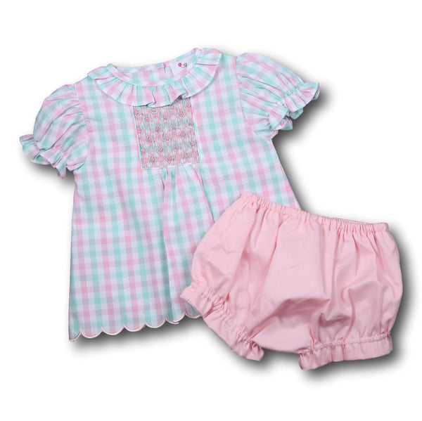 Pink and Mint Check Geometric Smocked Diaper Set