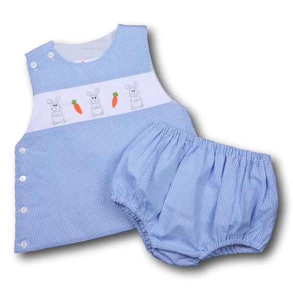 Blue Gingham Embroidered Bunny and Carrot Diaper Set