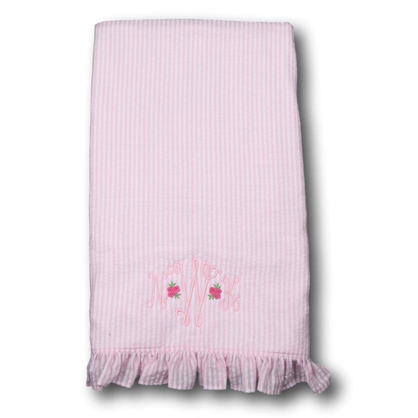 Pink Seersucker and Terry Cloth Ruffle Beach Towel