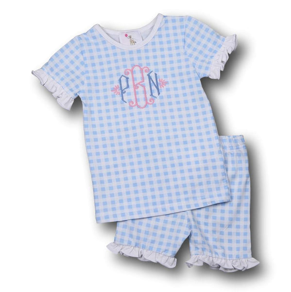 Blue Check Knit with Ruffles PJ Set