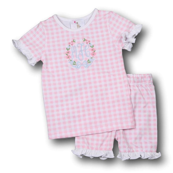 Pink Check Knit with Ruffles PJ Set