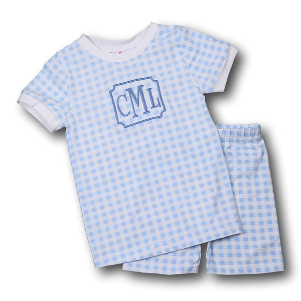 Blue Check Knit PJ Set