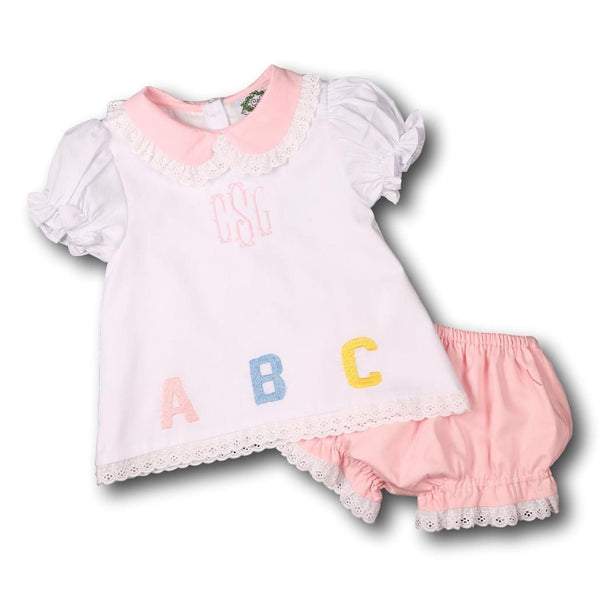 White and Pink ABC Diaper Set with Eyelet Trim