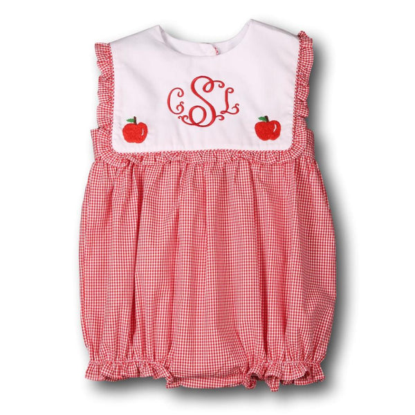 Red Gingham Embroidered Apples Collar Bubble
