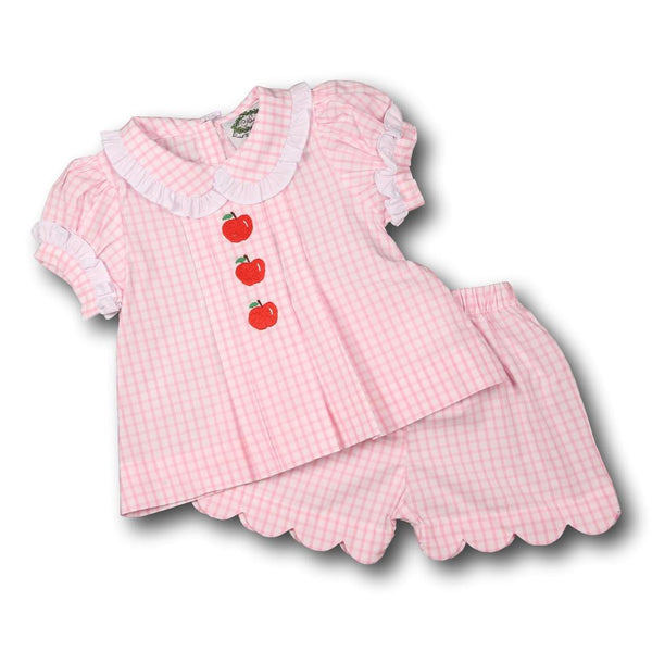 Pink Windowpane Embroidered Apple Short Set