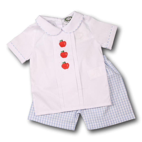 Blue Windowpane Embroidered Apple Short Set