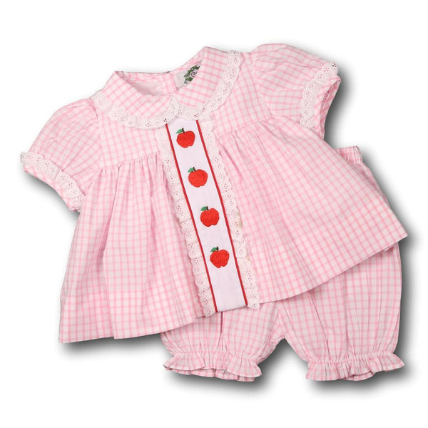Pink Windowpane Embroidered Apple Bloomer Set