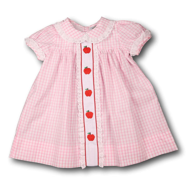 Pink Windowpane Embroidered Apple Dress