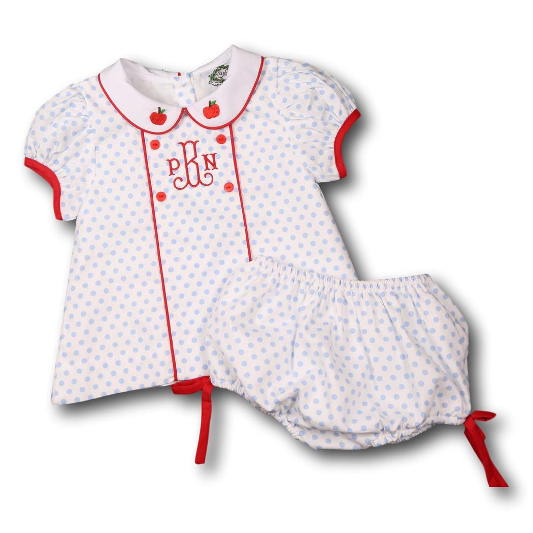 Blue Dot with Red Trim Embroidered Apple Diaper Set