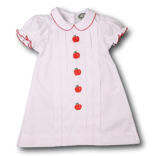 White Pique Embroidered Apple Dress