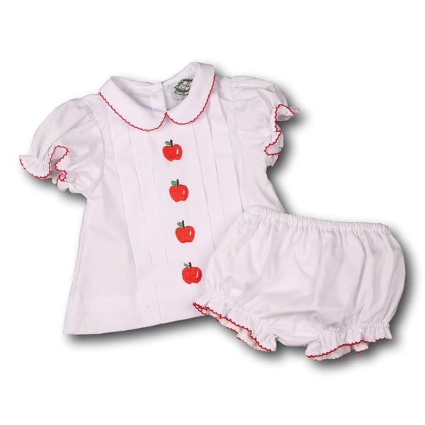 White Pique Embroidered Apple Diaper Set