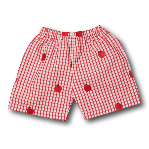 Red Windowpane Embroidered Apples Shorts