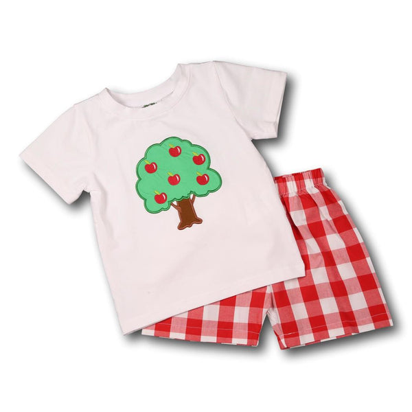 Red Check Applique Tree Short Set