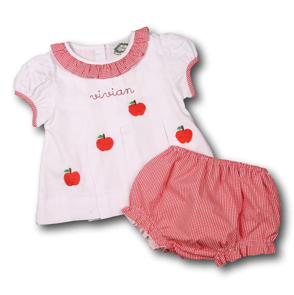 White and Red Gingham Trim Embroidered Apple Diaper Set