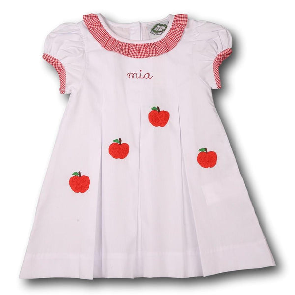 White and Red Gingham Trim Embroidered Apple Dress