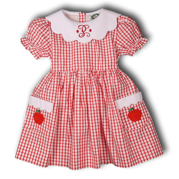 Red Windowpane Scalloped Collar Pocket Apple Dress