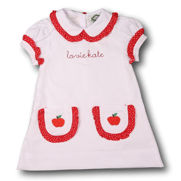 White with Red Trim Embroidered Apple Dress