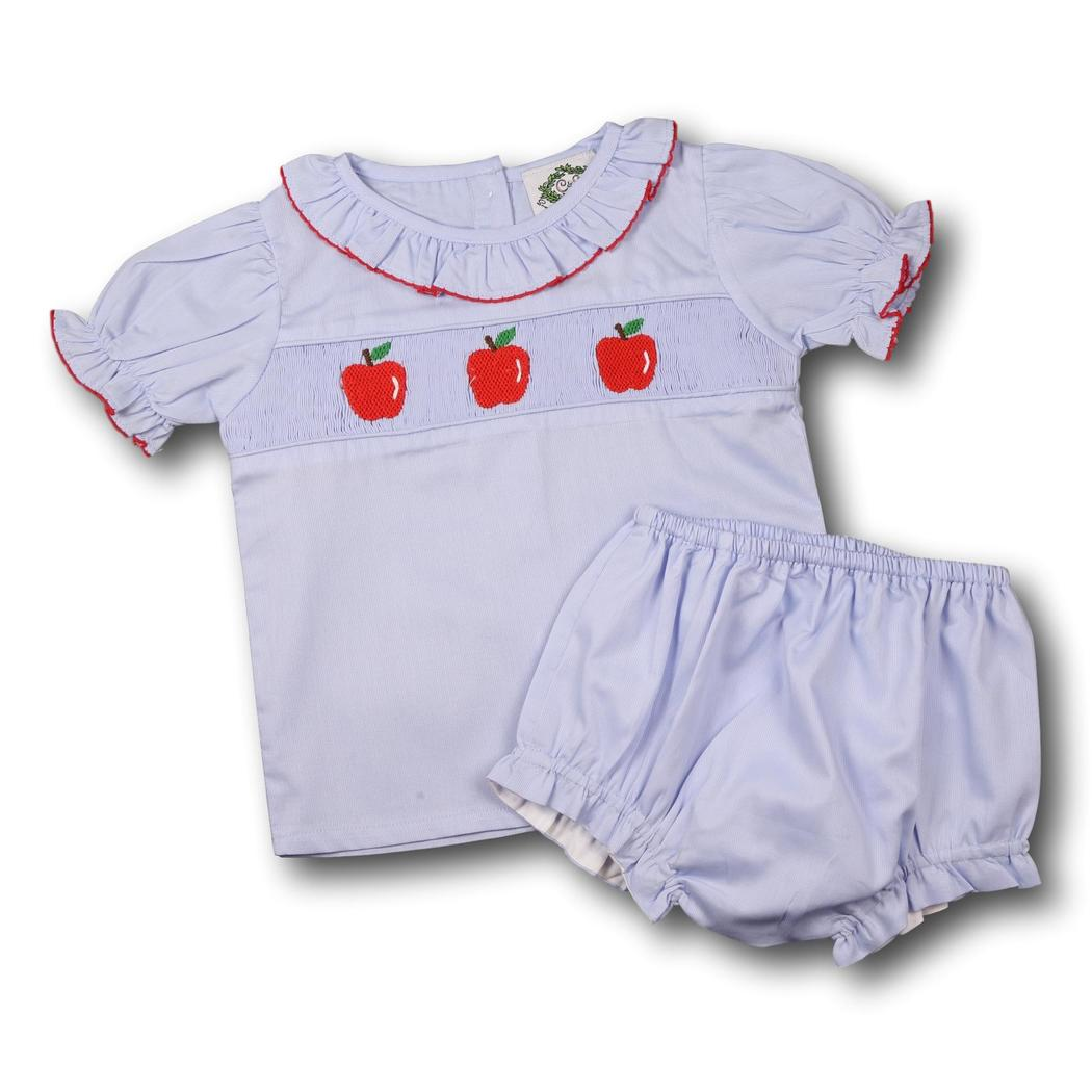 Blue Pique Apple Smocked Apples Diaper Set