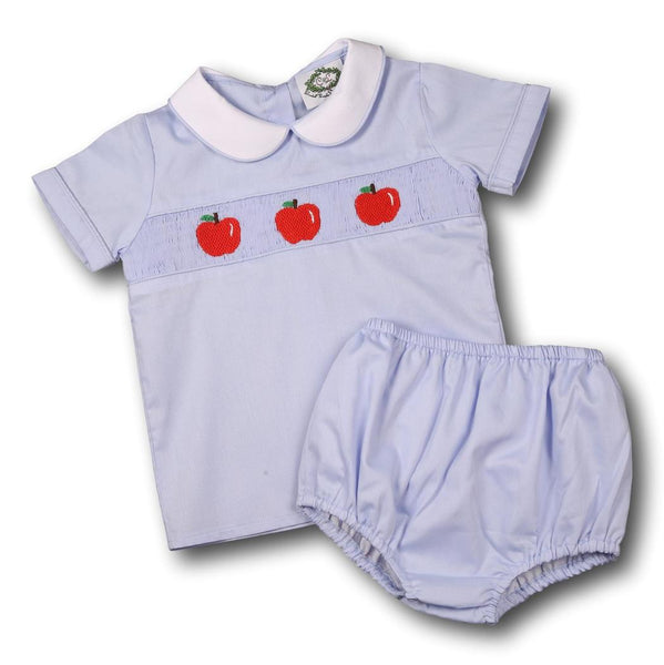 Blue Pique Smocked Apples Diaper Set