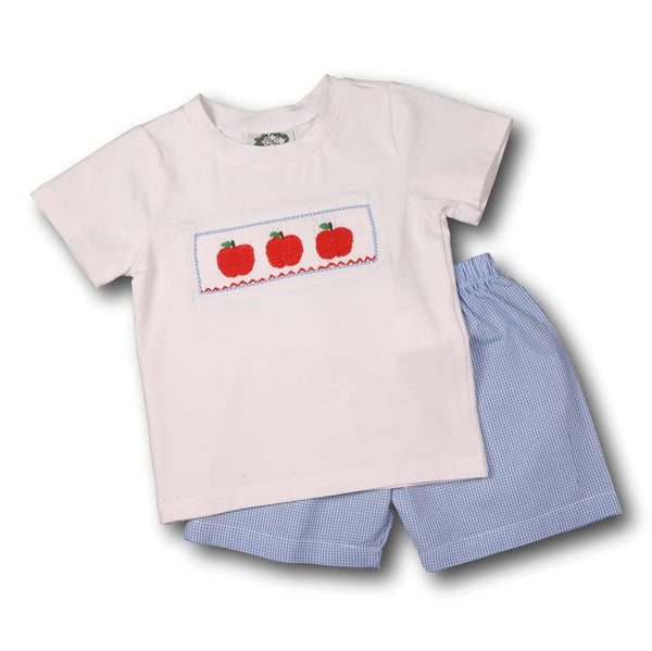White and Blue Gingham Smocked Apples Short Set