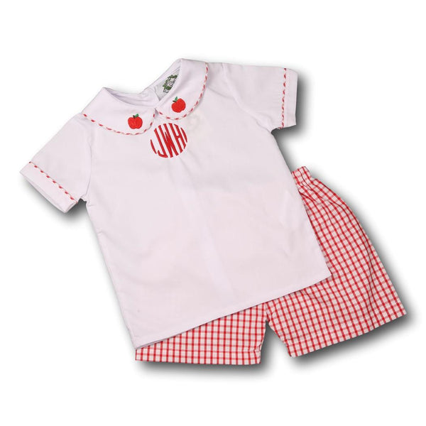 Red Windowpane Apple Short Set