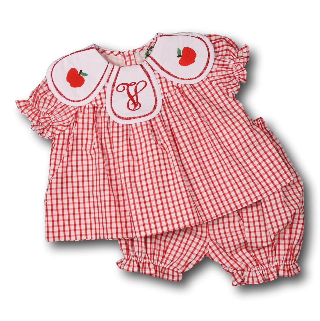 Red Windowpane Eliza Apple Bloomer Set