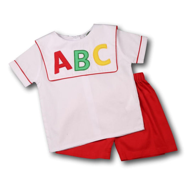 White and Red ABC Short Set