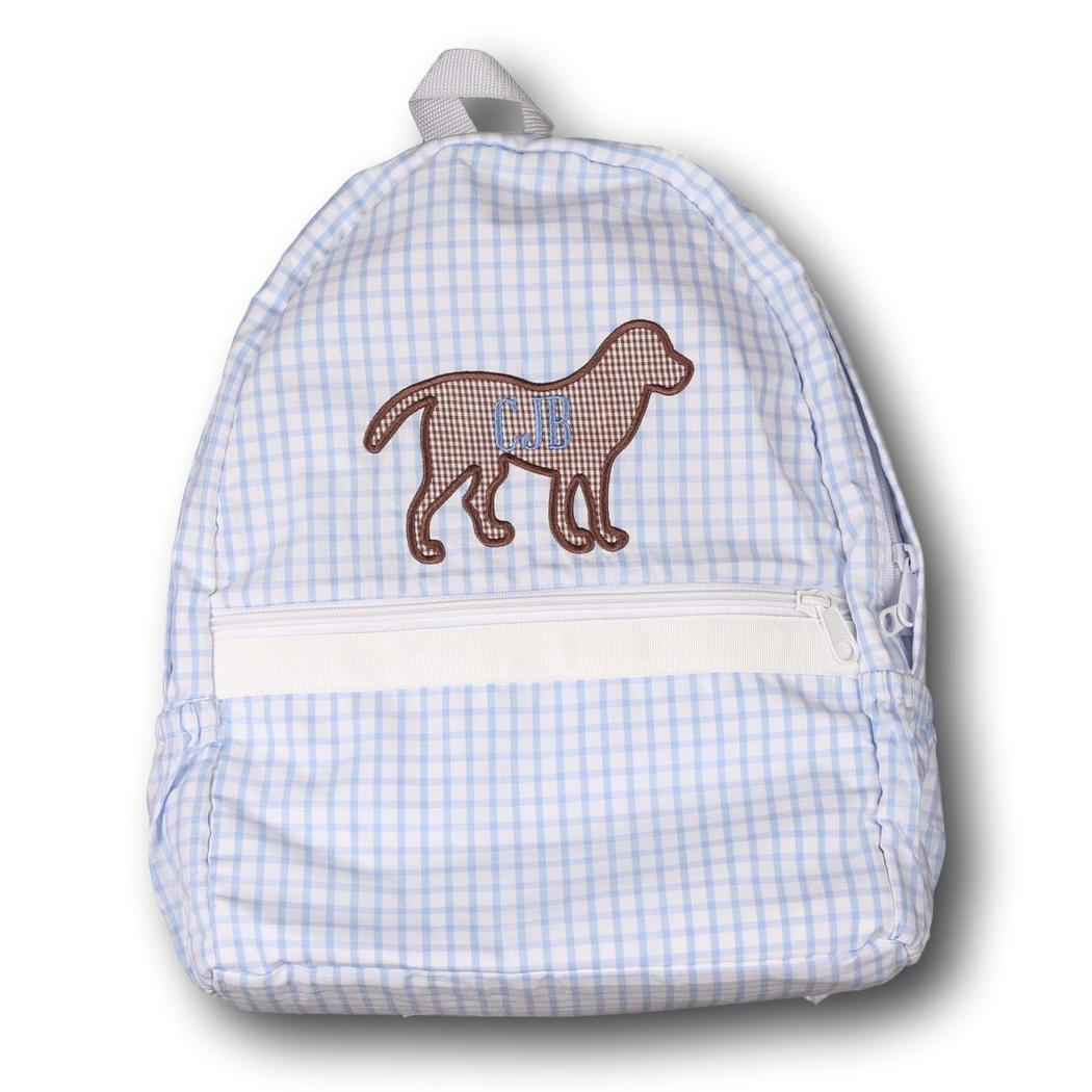 Blue Windowpane Applique Lab Backpack