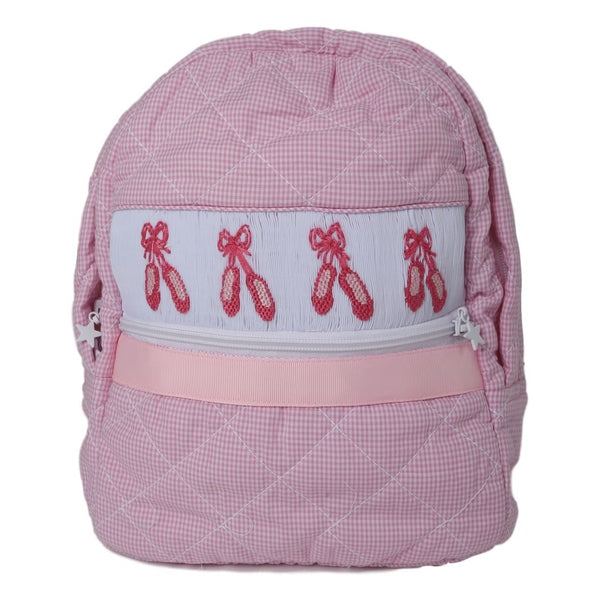 Pink Smocked Ballet Slipper Backpack