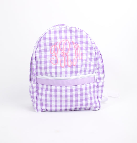 Lavender Check Seersucker Backpack