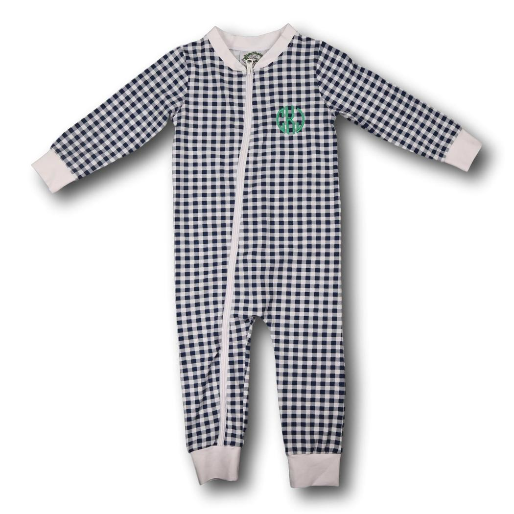 Navy Check Knit Zipper PJs