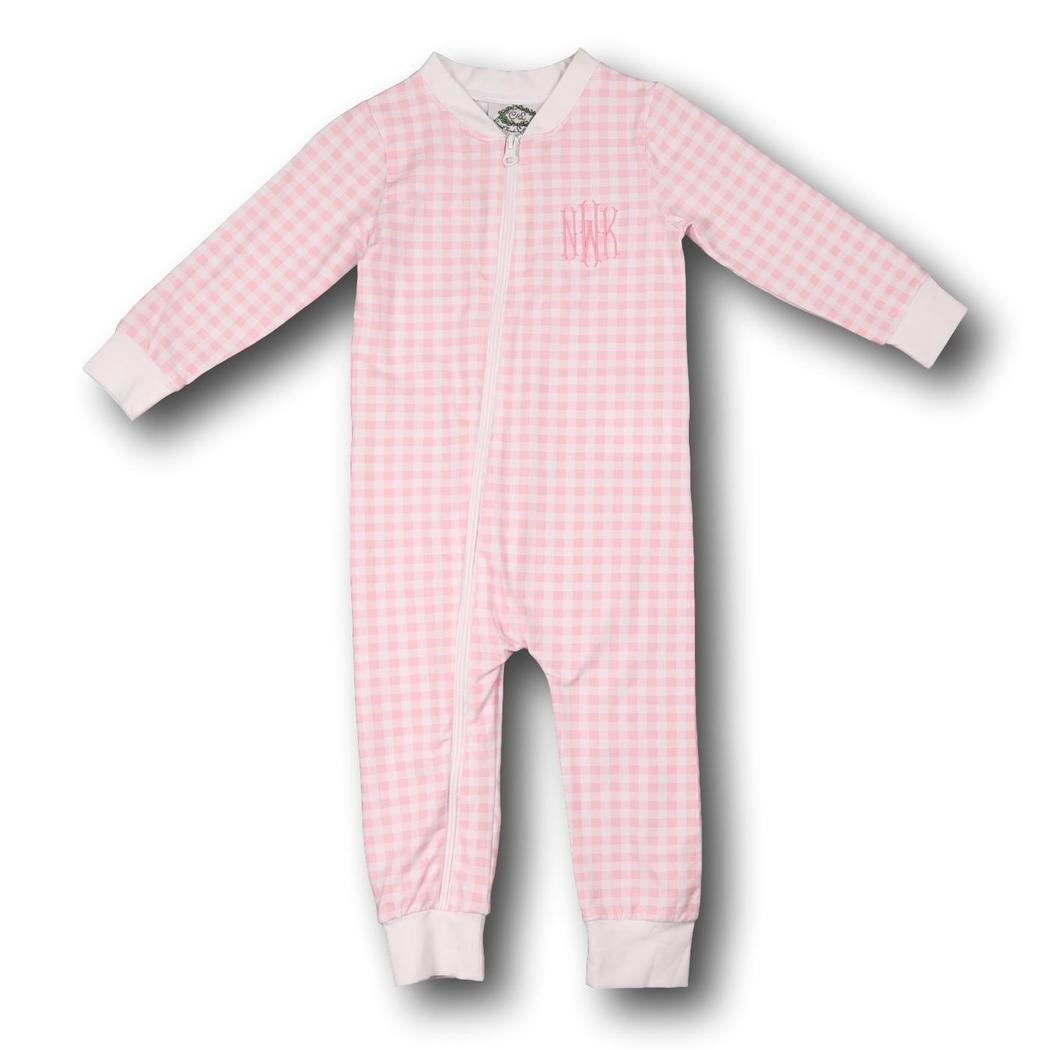 Pink Check Knit Zipper PJs