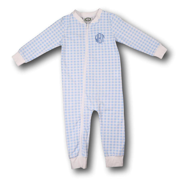 Blue Check Knit Zipper PJs