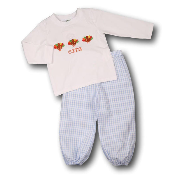 Boys Blue Windowpane Turkey Pant Set