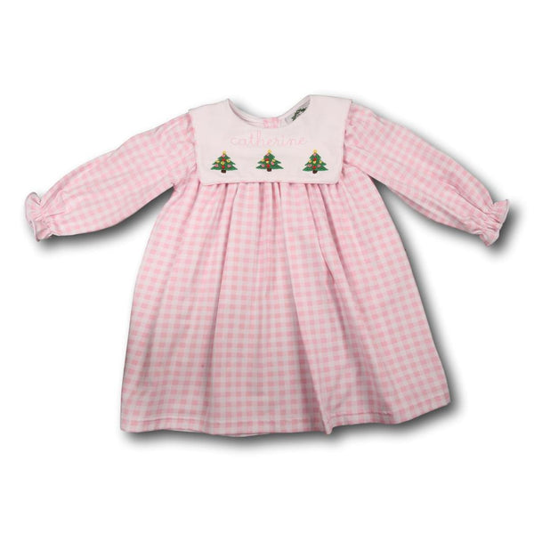 Pink Check Knit Embroidered Christmas Tree Dress
