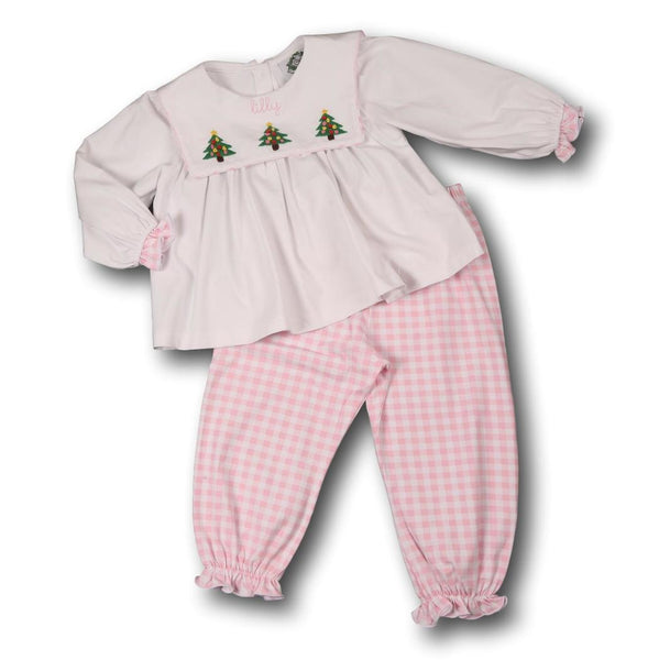 Pink Check Knit Tree Pant Set