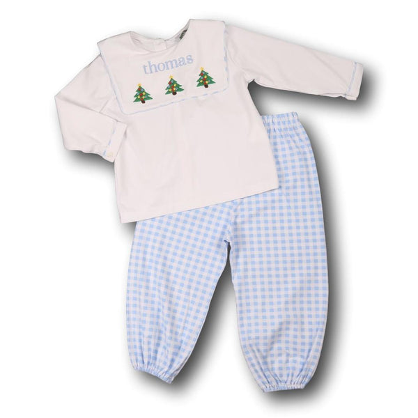 Blue Check Embroidered Christmas Tree Pant Set