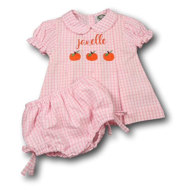 Pink Windowpane Pumpkin Diaper Set