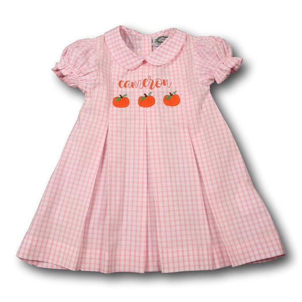 Pink Windowpane Pumpkin Dress
