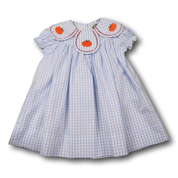 Blue Windowpane Embroidered Pumpkin Eliza Dress