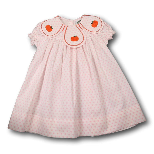 Pink Dot Embroidered Pumpkin Eliza Dress