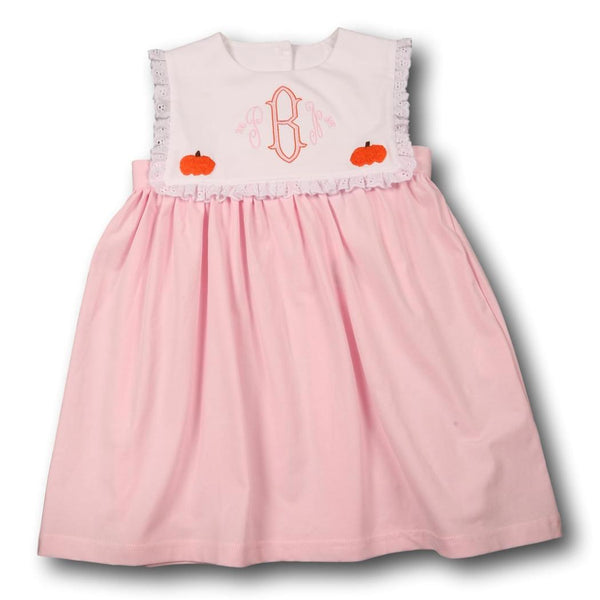Pink Knit Embroidered Pumpkin Dress