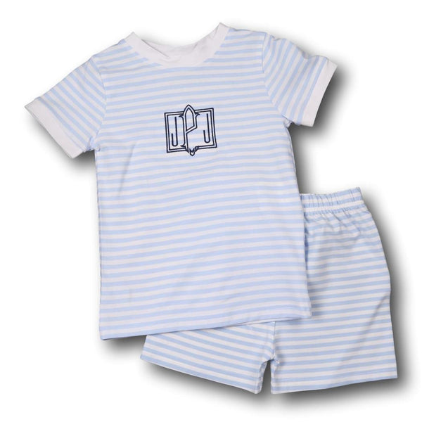 Blue Mini Stripe Knit Boys PJ Set