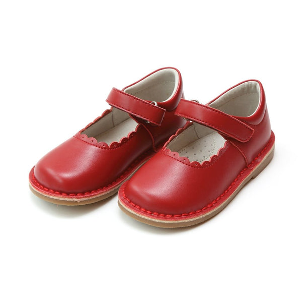 L'Amour Red Scalloped Stitch Down Mary Jane Shoes